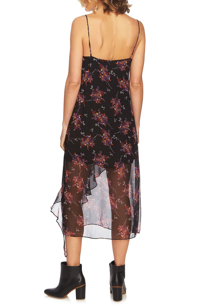 Yieldings Discount Clothing Store's Wildflower Ruffle Slip Dress by 1.State in Rich Black Multi