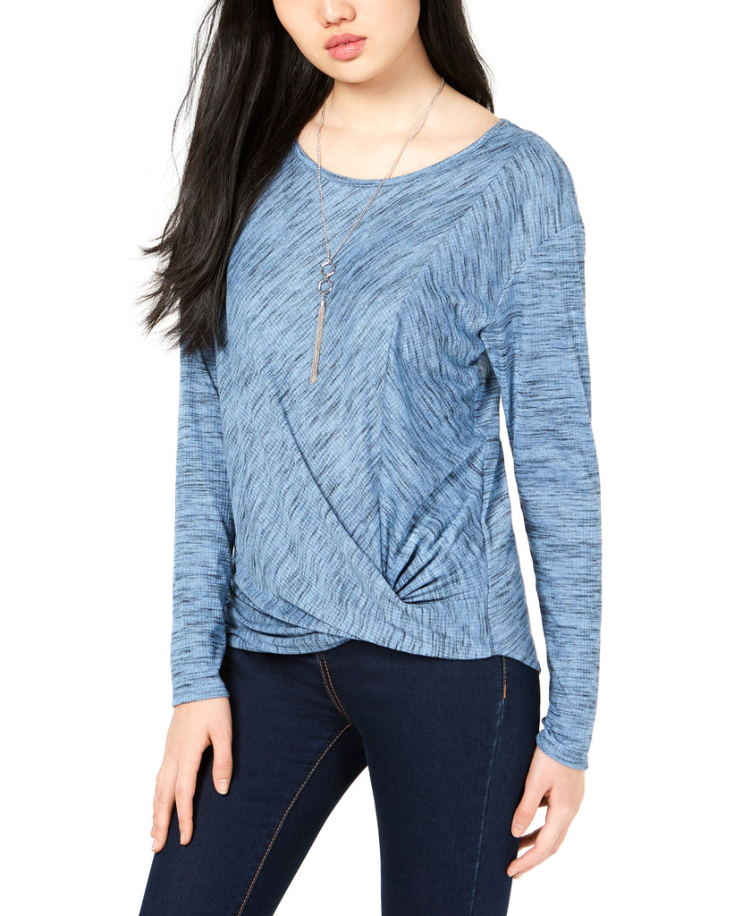 Yieldings Discount Clothing Store's Twist-Front Rib-Knit Top with Necklace by BCX in Sky Blue