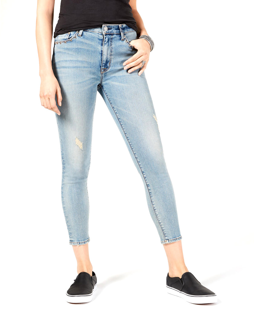 Yieldings Discount Clothing Store's High-Waist Super Skinny Crop Jeans by Hudson in Dangerous Wild