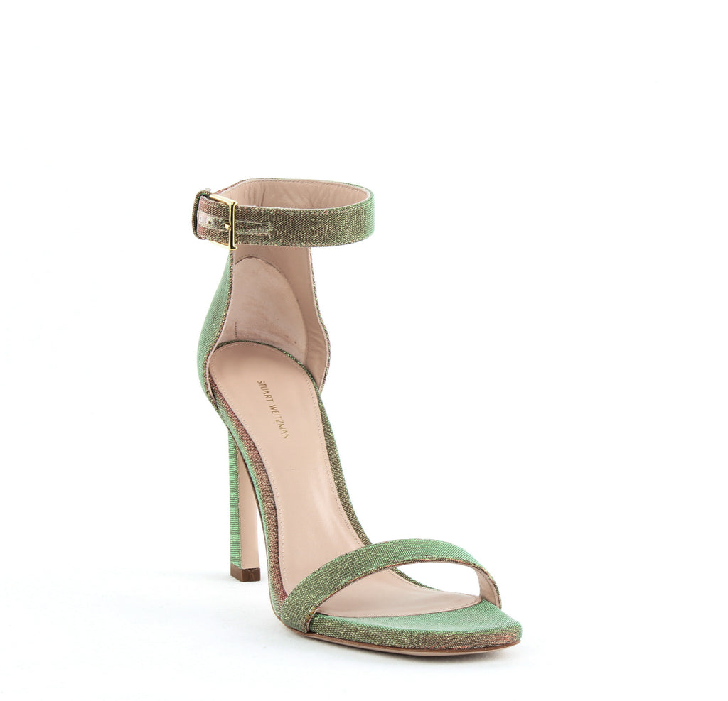 Yieldings Discount Shoes Store's Square Nudist Heeled Sandals by Stuart Weitzman in Gold Night Time