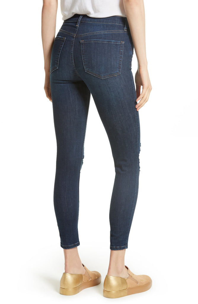 Yieldings Discount Clothing Store's Busted Skinny Jeans by Free People in Dark Blue