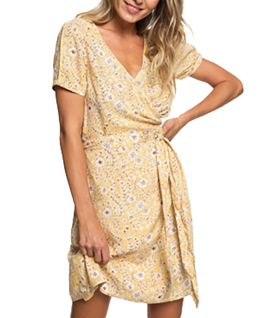 Yieldings Discount Clothing Store's Monument View Floral Print Short Sleeves Wrap Dress by Roxy in Yellow