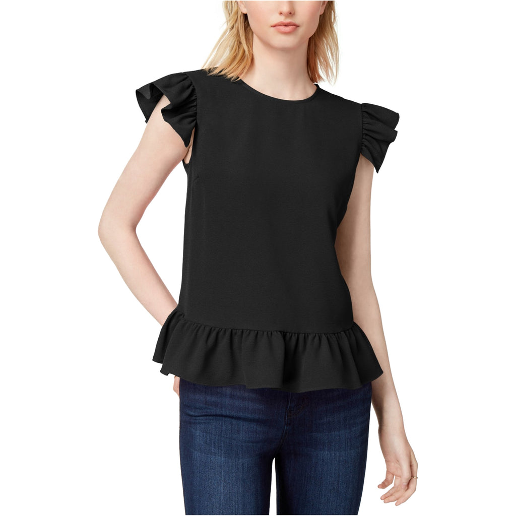 Yieldings Discount Clothing Store's Flutter-Sleeve Top by Maison Jules in Deep Black