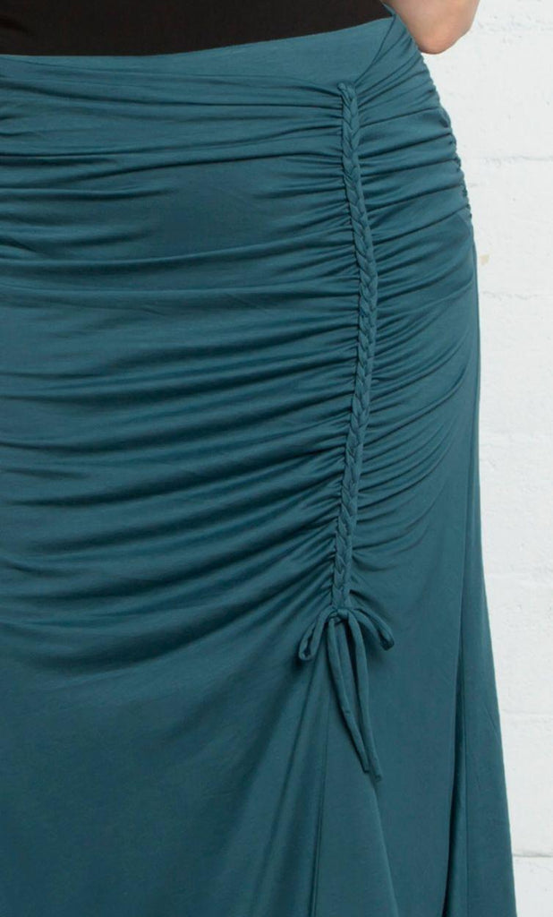 Yieldings Discount Clothing Store's Mermaid Maxi Skirt by Kiyonna in Teal