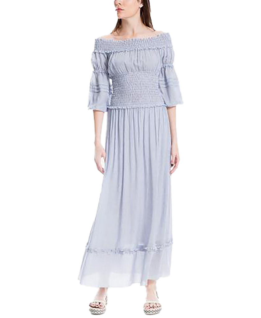 Yieldings Discount Clothing Store's Smocked Maxi Dress by Max Studio London in Blue/White