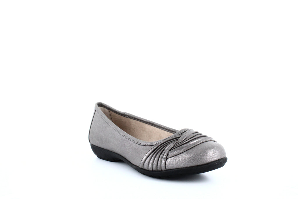 Yieldings Discount Shoes Store's Sable Flats by White Mountain in Pewter/Metallic