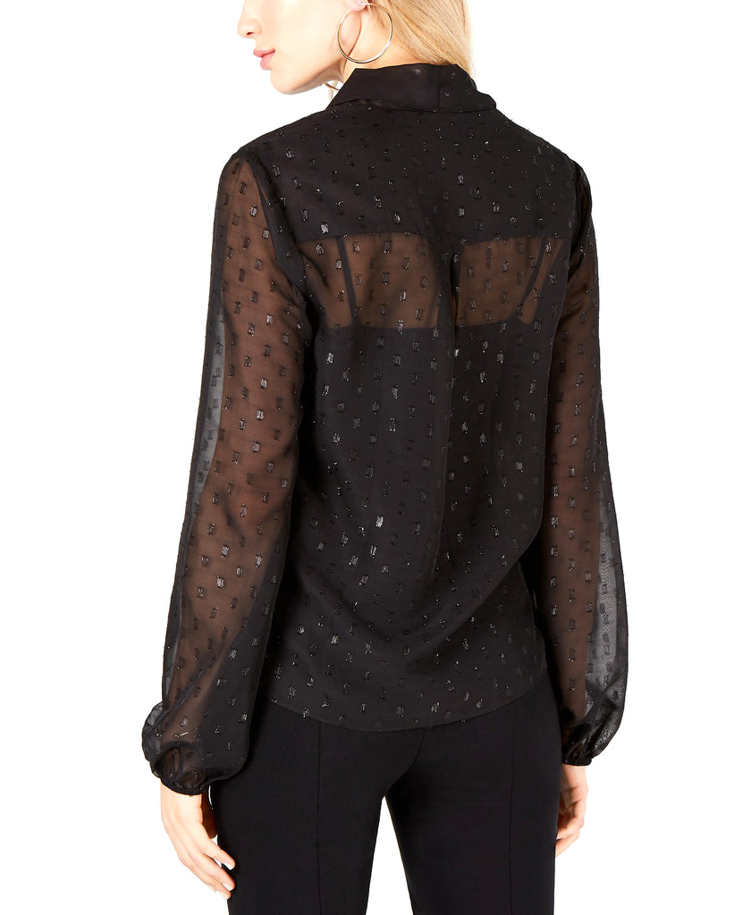 Yieldings Discount Clothing Store's Knot-Front Blouse by Leyden in Black Chip Chiffon