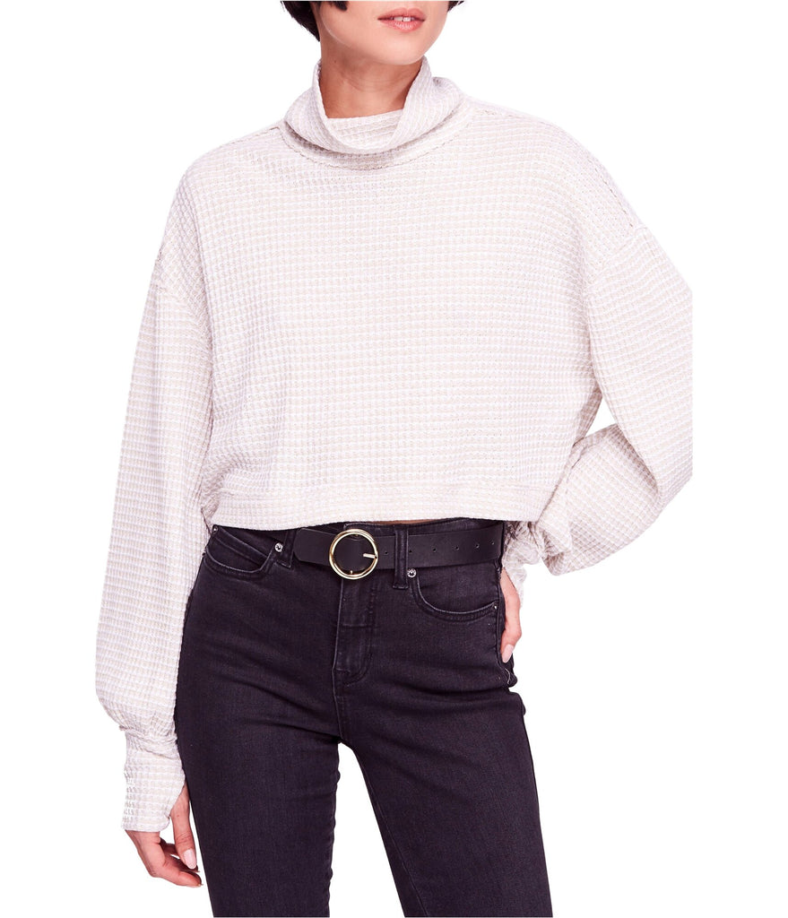 Yieldings Discount Clothing Store's Waffle-Knit Cropped Turtleneck Sweater by Free People in White/Beige