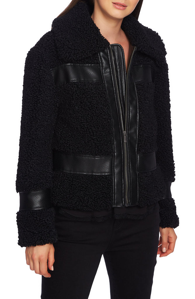 Yieldings Discount Clothing Store's Zip Front Shearling Bomber Jacket by 1.State in Rich Black