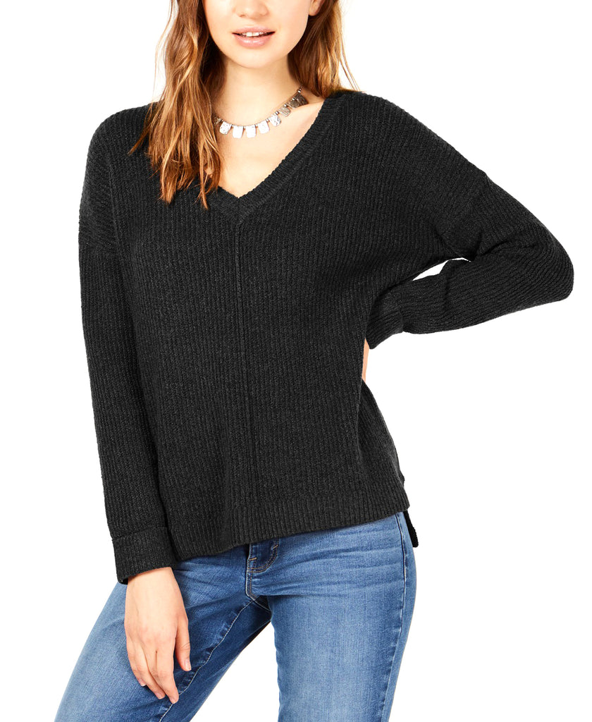 Yieldings Discount Clothing Store's Mossy Ribbed-Knit Tunic Top by Hippie Rose in Black
