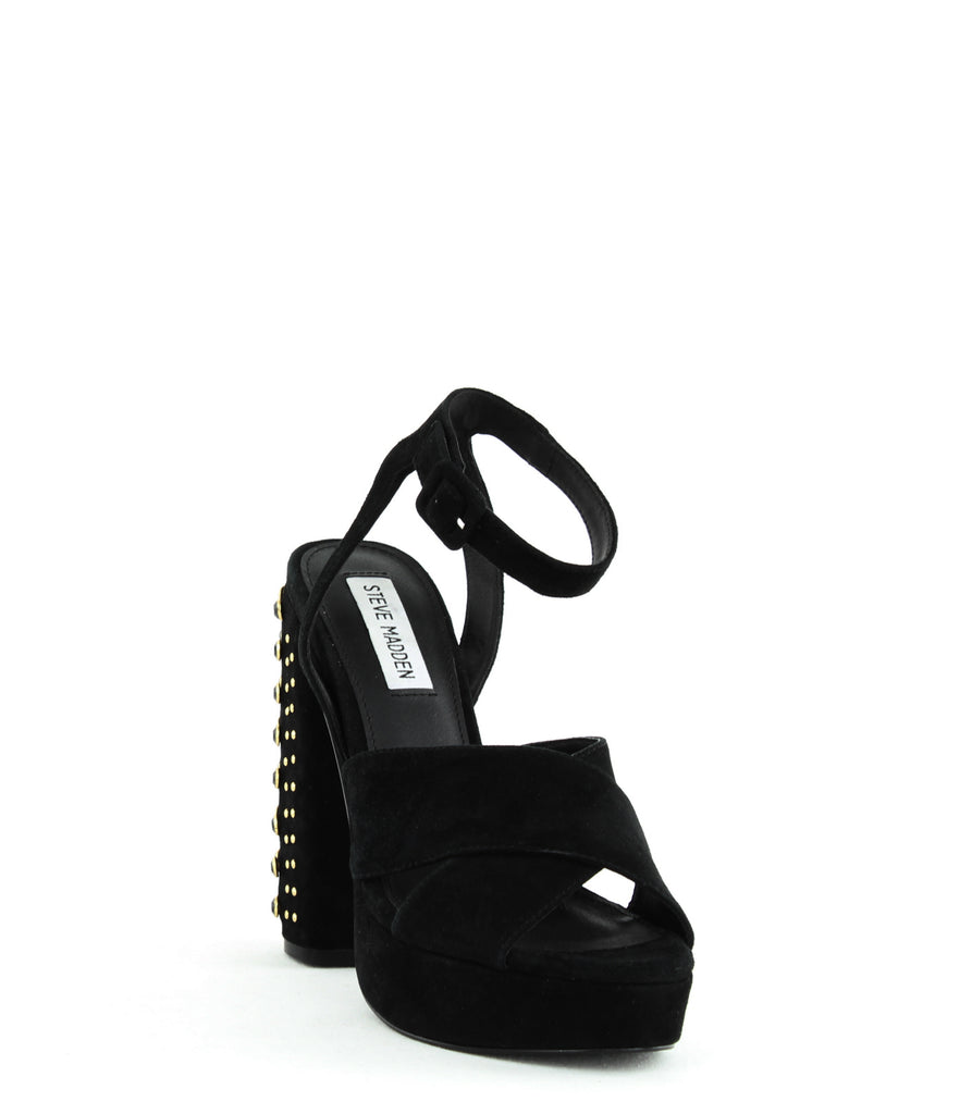 Yieldings Discount Shoes Store's Jodi Two-Piece Studded Platform Sandals by Steve Madden in Black