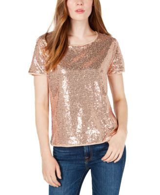 Yieldings Discount Clothing Store's Sequin T-Shirt by Maison Jules in Champagne