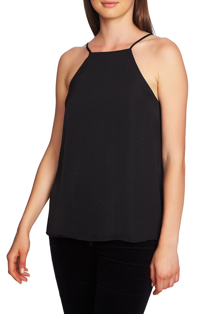 Yieldings Discount Clothing Store's Laced-Back Halter Top by 1.State in Rich Black