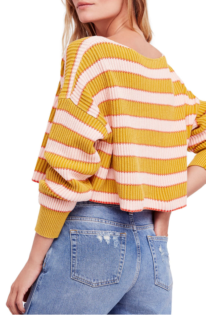Yieldings Discount Clothing Store's Just My Stripe Cropped Sweater by Free People in Freshly Squeezed