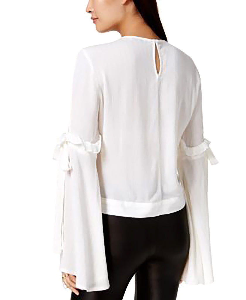 Yieldings Discount Clothing Store's Metallic-striped Cold-shoulder Blouse by Bar III in White Combo