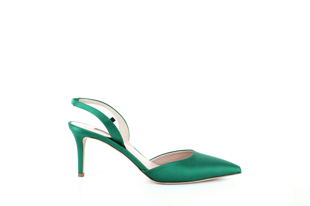 Yieldings Discount Shoes Store's Bliss Satin Slingback Pumps by SJP in Green Satin