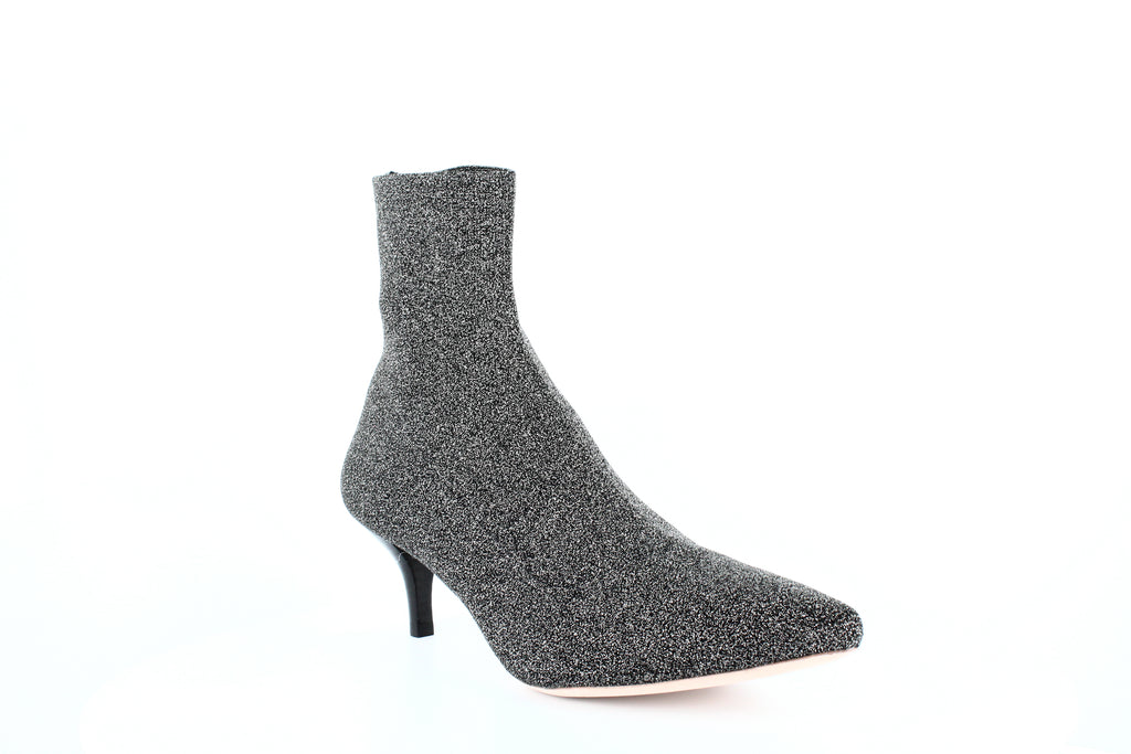 Yieldings Discount Shoes Store's Kassidy Knit Booties by Loeffler Randall in Black/Silver