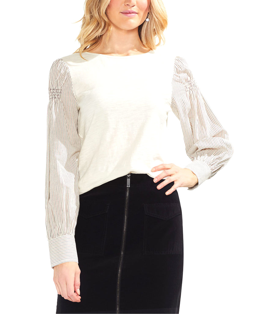 Vince Camuto | Long Sleeve Smocked Shoulder Mixed Media Top