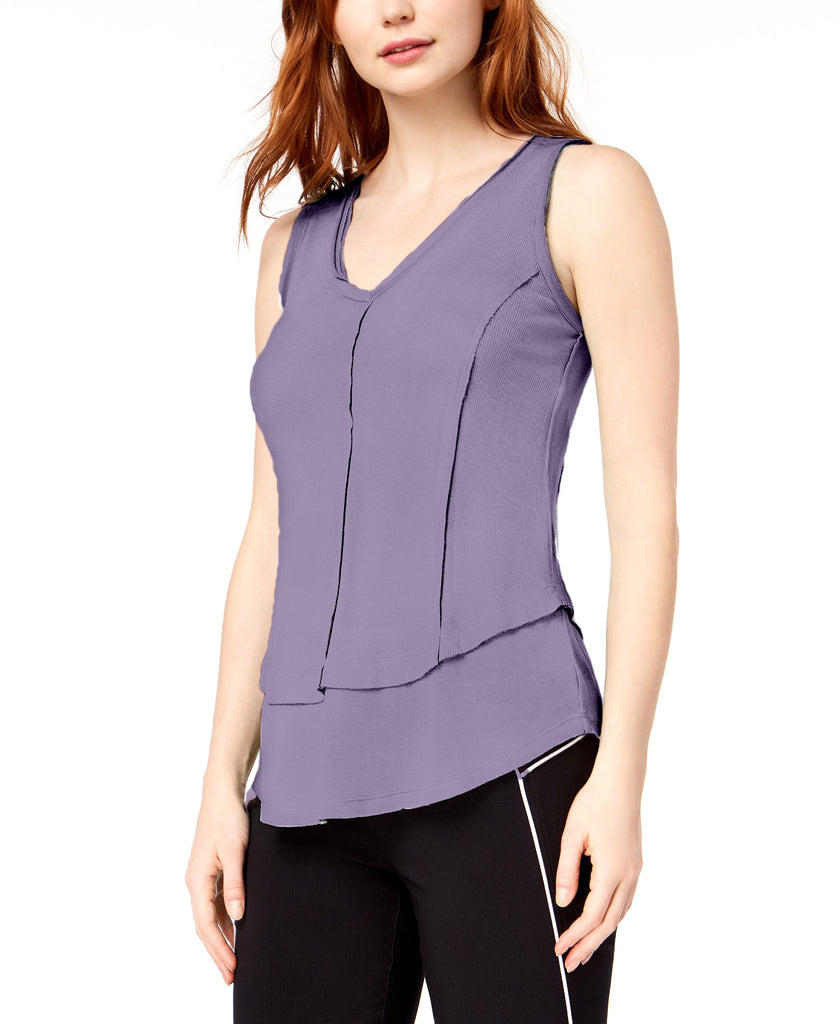 Yieldings Discount Clothing Store's Prism Garden Ribbed Layered V-Neck Top by Bar III in Fresia Dusk