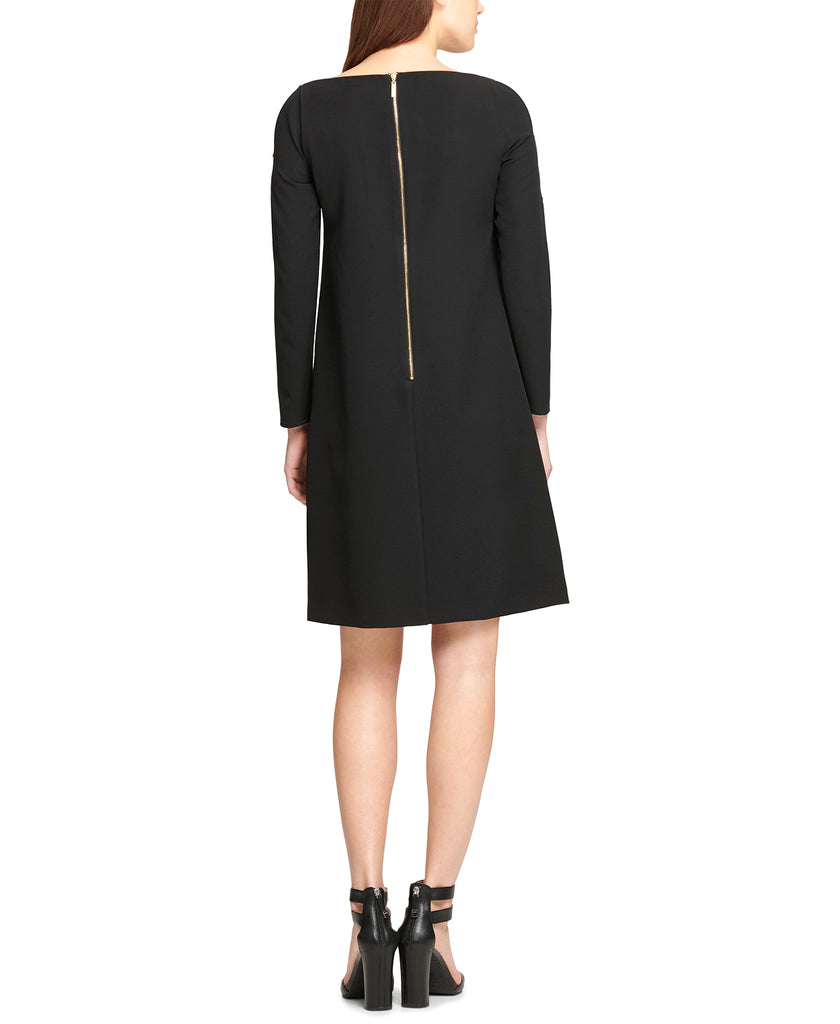 Yieldings Discount Clothing Store's Embellished Long Sleeves Shift Dress by DKNY in Black