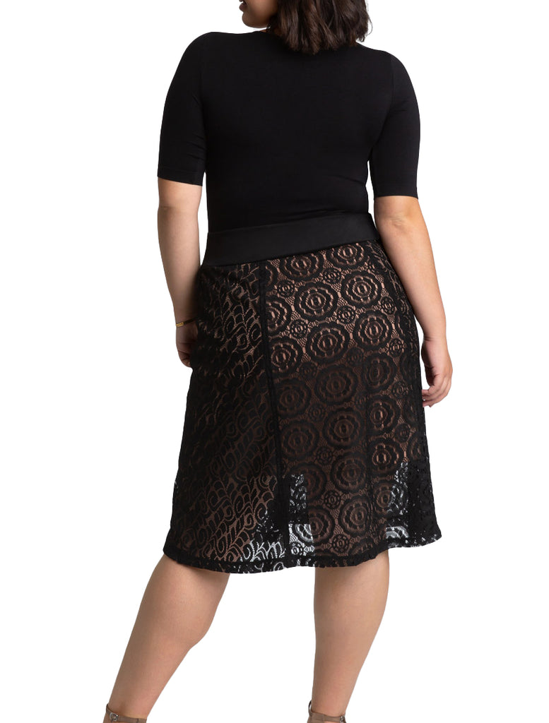 Yieldings Discount Clothing Store's Muse Lace Midi Skirt by Kiyonna in Black
