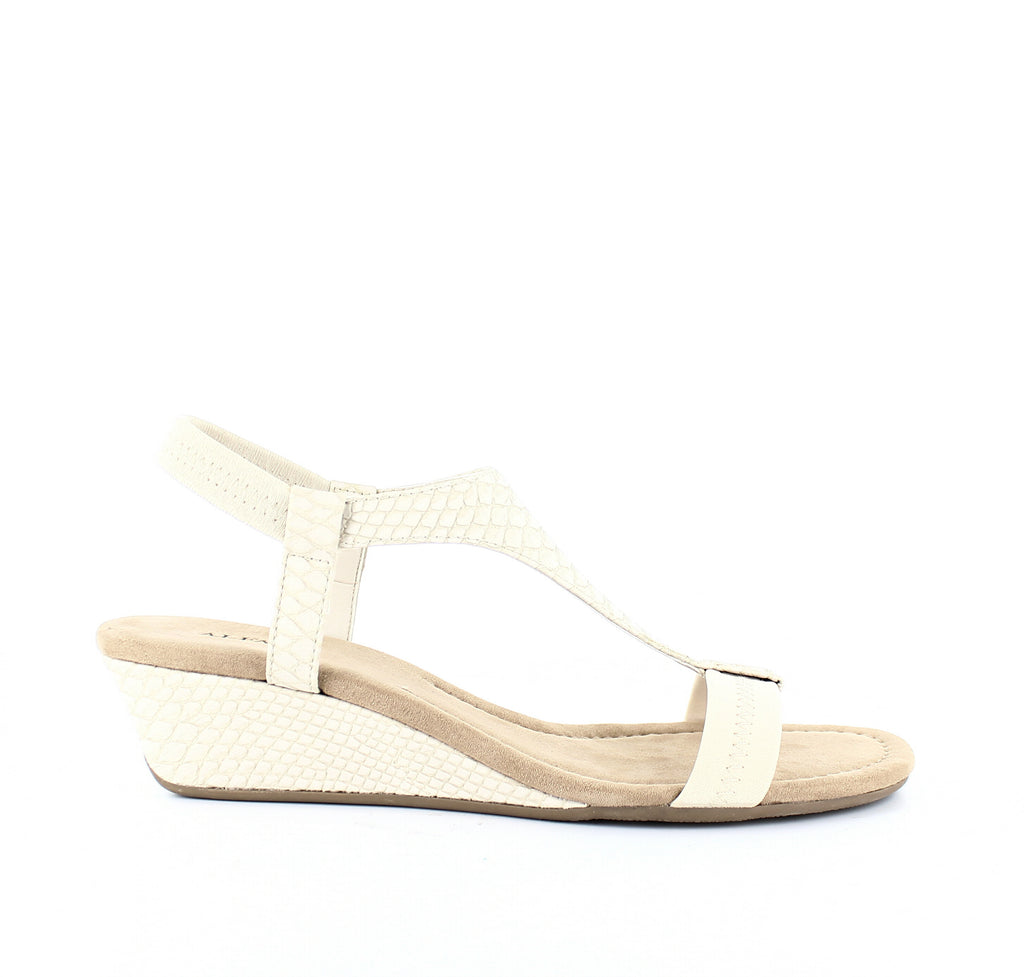 Yieldings Discount Shoes Store's Vacanzaa Wedge T-Strap Sandals by Alfani in Pale