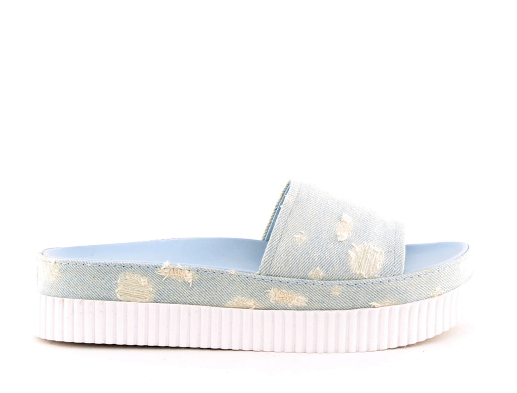 Yieldings Discount Shoes Store's Isla 7 Denim Platform Sandals by Kendall + Kylie in Light Blue Fabric