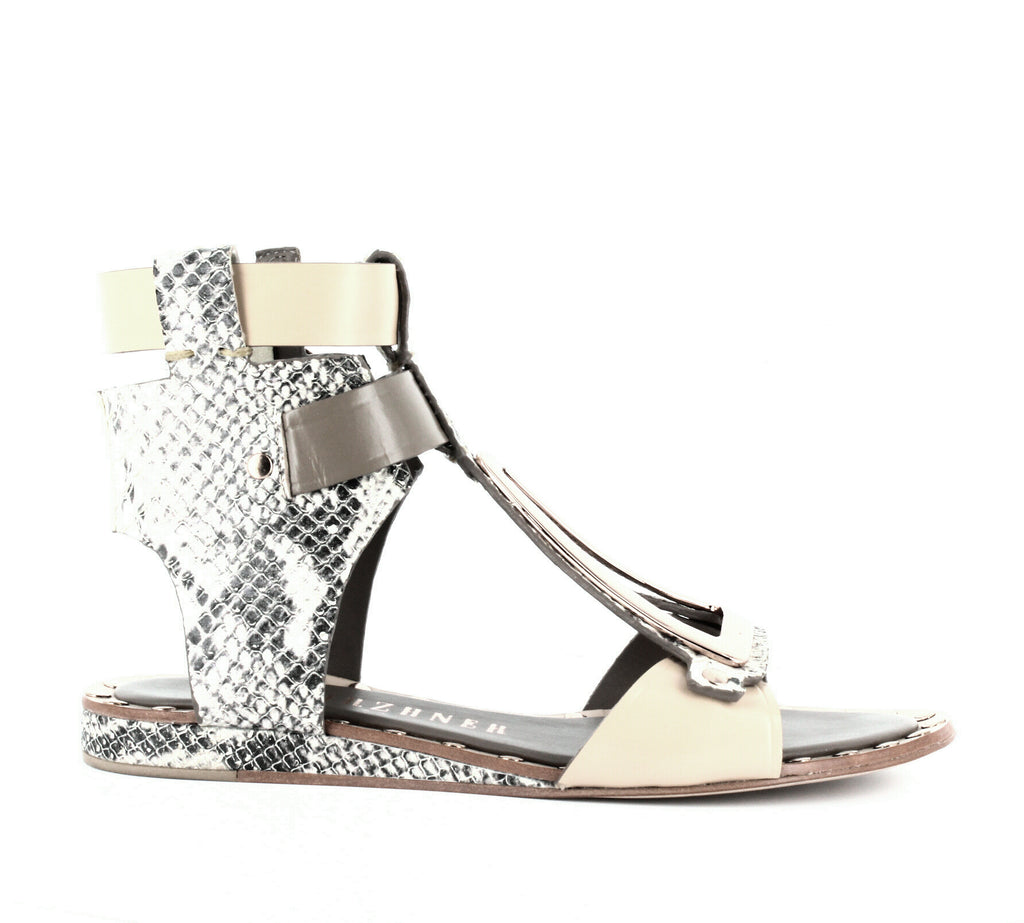Yieldings Discount Shoes Store's Intrepid Snake-Embossed Flat Sandals by Ivy Kirzhner in Natural