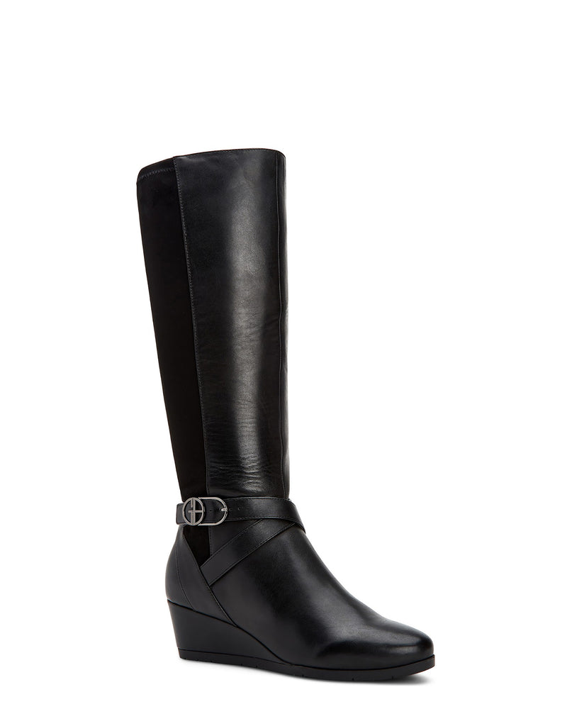 Yieldings Discount Shoes Store's Chelseyy Wedge Boots by Giani Bernini in Black Leather