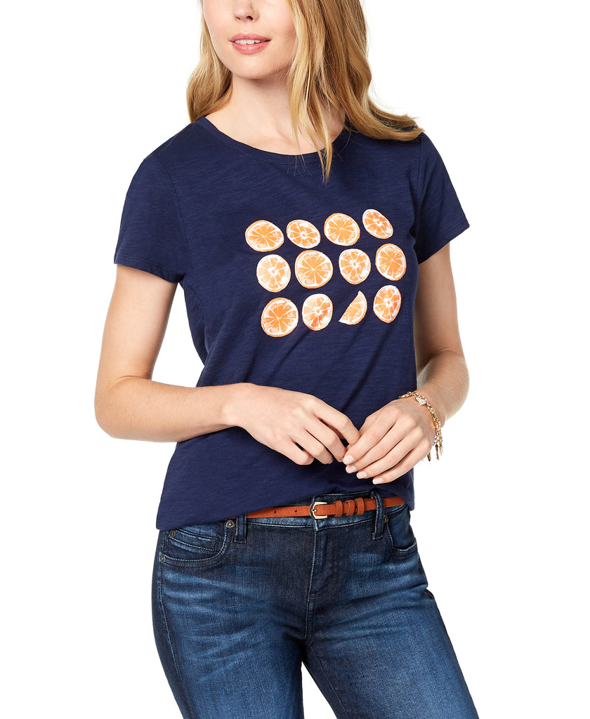 Yieldings Discount Clothing Store's Short-Sleeve Orange-Graphic T-Shirt by Maison Jules in Blue Notte Combo