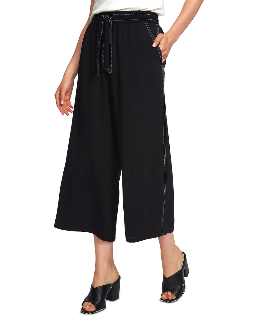 Yieldings Discount Clothing Store's Contrast Stitch Wide Leg Crop Pants by 1.State in Rich Black