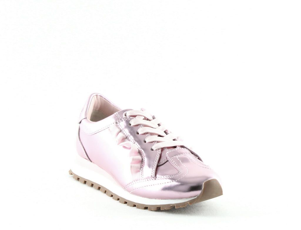 Yieldings Discount Shoes Store's Ruffle Trainer Leather Sneakers by Tory Sport in Cotton Pink