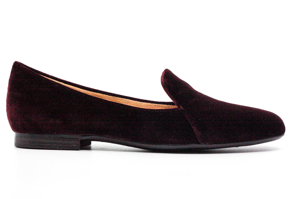 Yieldings Discount Shoes Store's Emiline Bordo Velvet Slip-On Loafers by Naturalizer in Burgundy