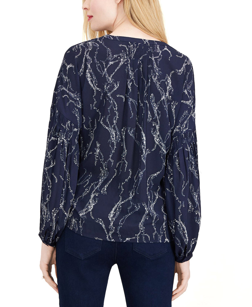 Yieldings Discount Clothing Store's Printed Pleat-Detailed Top by Maison Jules in Galaxy Stardust