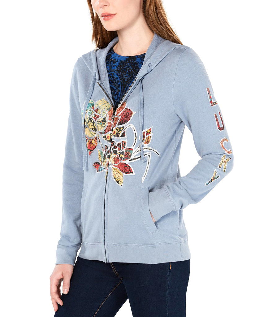Yieldings Discount Clothing Store's Legacy Flower Hoodie by Lucky Brand in Tradewinds