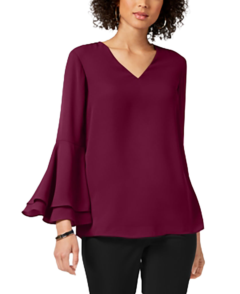 Yieldings Discount Clothing Store's V-Neck Poet-Sleeve Top by Alfani in Berry