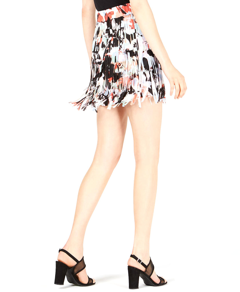 Yieldings Discount Clothing Store's Lasercut Fringe Mini Skirt by Bar III in Expression Floral