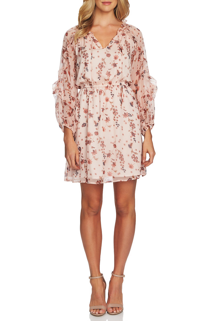 Yieldings Discount Clothing Store's Bohemian Garden Ruffle Sleeve Mini Dress by CeCe in Light Rose Cloud