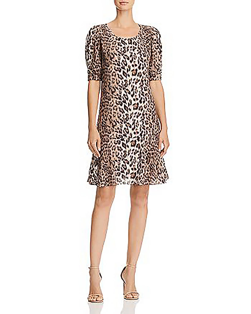 Yieldings Discount Clothing Store's Angeni Leopard Print Dress by Joie in Light Taupe