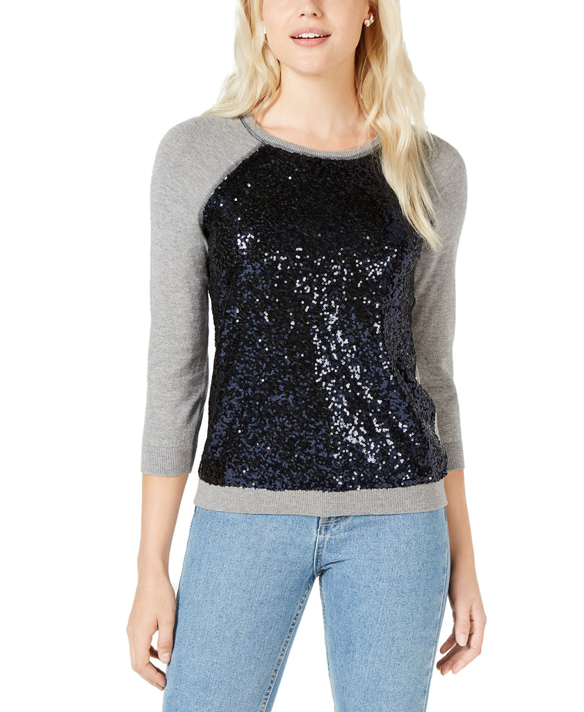 Maison Jules | Core Fashion Sequin Baseball Sweater