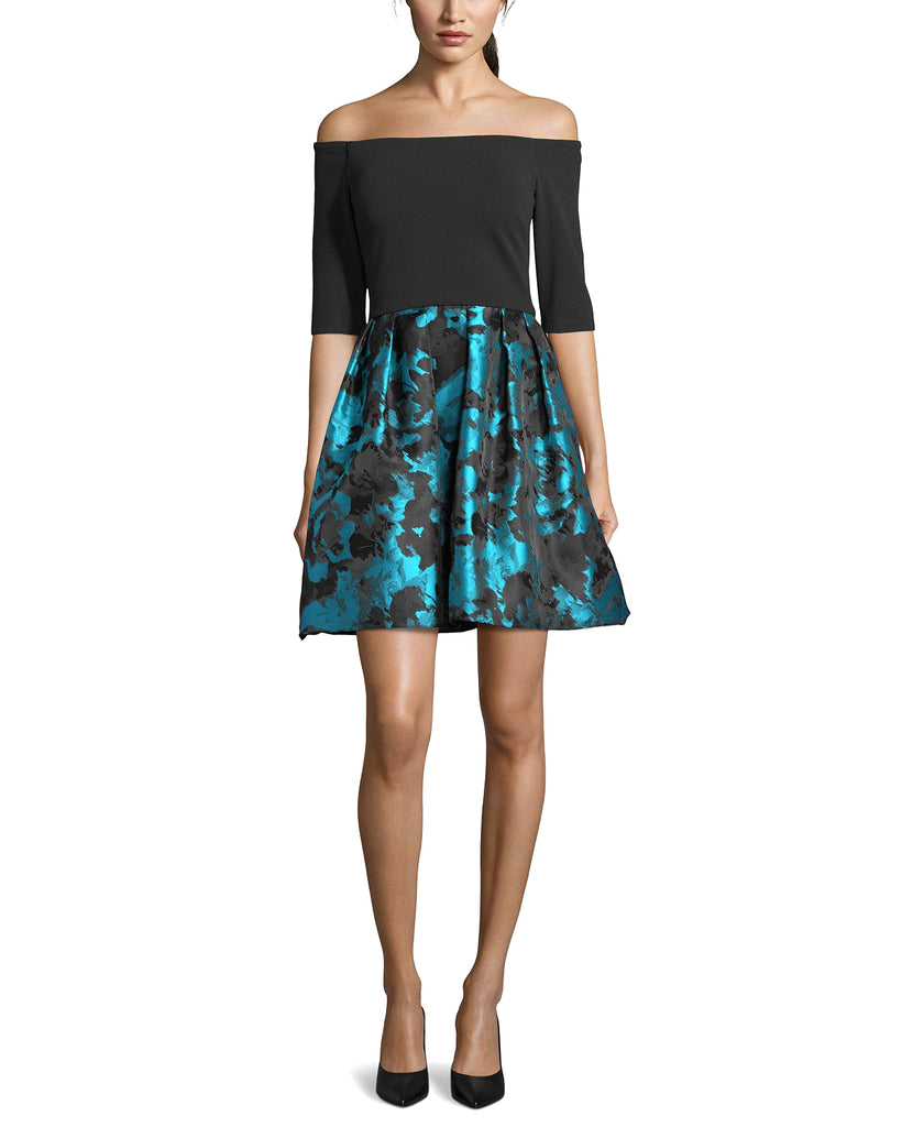 Yieldings Discount Clothing Store's Petite Off-The-Shoulder Dress by Betsy & Adam in Blue Multi