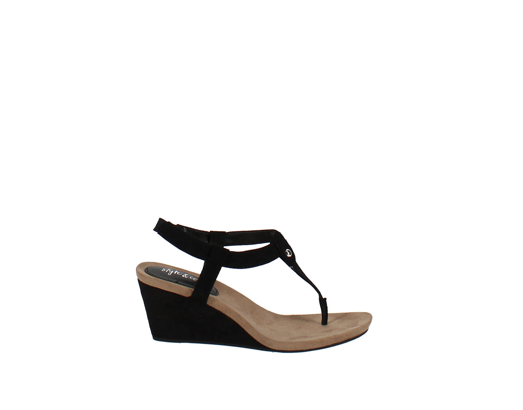 Yieldings Discount Shoes Store's Mariella Wedge T-Strap Sandals by Style & Co in Black