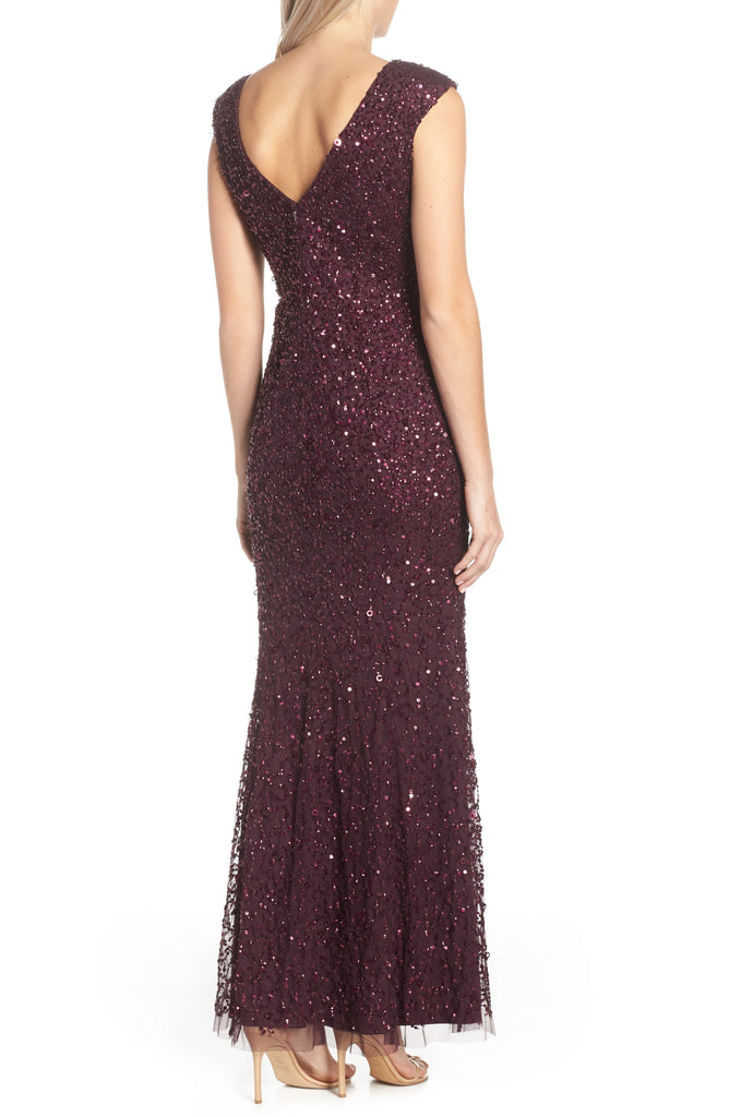 Yieldings Discount Clothing Store's Cap Sleeve Sequin Gown by Adrianna Papell in Night Plum