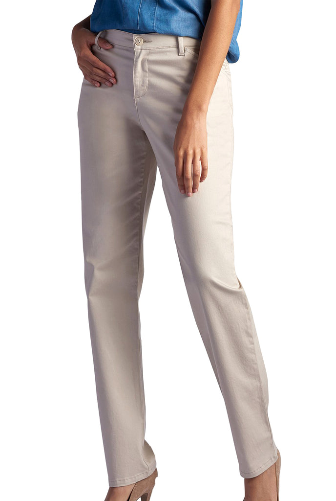 Yieldings Discount Clothing Store's Straight Leg Effortless Wash & Wear Pants by Lee in Parchment