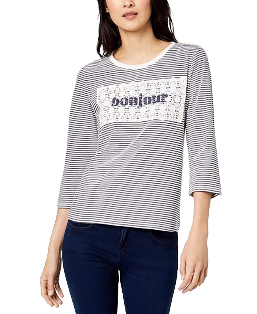 Yieldings Discount Clothing Store's Striped Crochet-Overlay Bonjour Top by Maison Jules in Blu Notte Combo