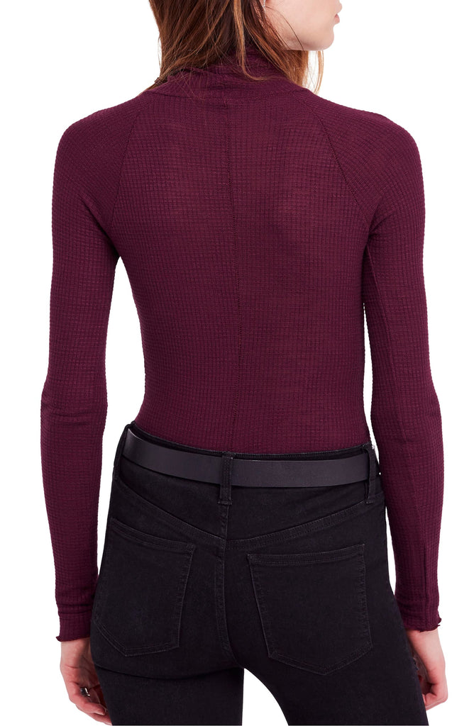Yieldings Discount Clothing Store's Make It Easy Long Sleeve Thermal T-Shirt by Free People in Midnight Plum