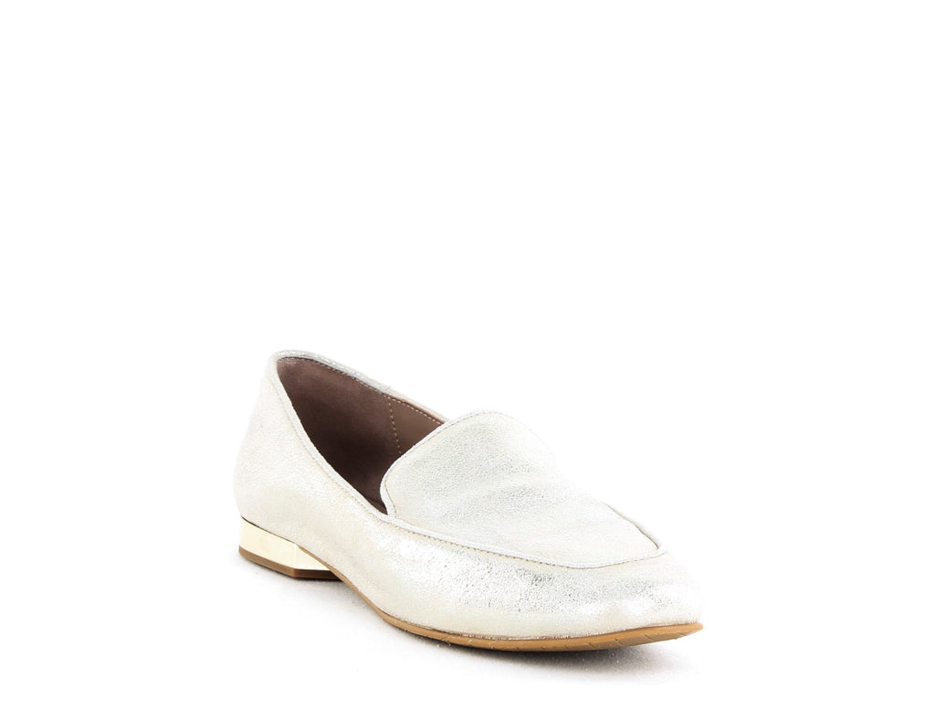 Yieldings Discount Shoes Store's Honey Metallic Loafers by Donald Pliner in Platino Tumbled Metallic