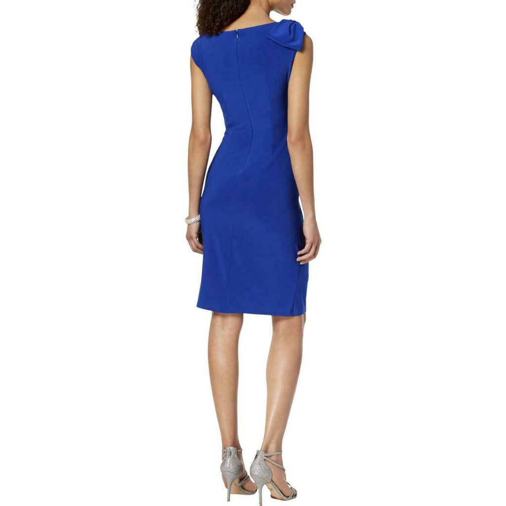 Yieldings Discount Clothing Store's Embellished Cocktail Sheath Dress by Jessica Howard in Cobalt