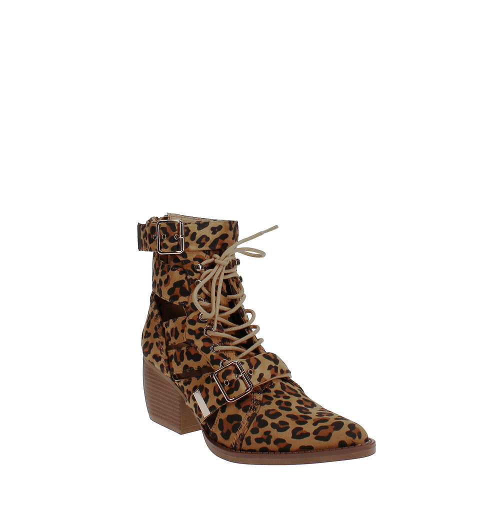Yieldings Discount Shoes Store's Bucklie Booties by Zigi Soho in Leopard