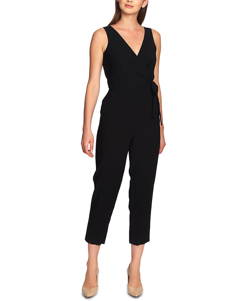 Yieldings Discount Clothing Store's V-Neck Wrap Jumpsuit by 1.State in Rich Black